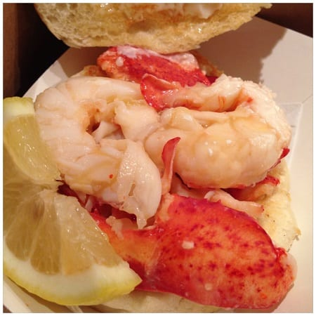 Lobster rool at the Clam Shack in Kennebunkport, Maine - the best lobster roll of New England